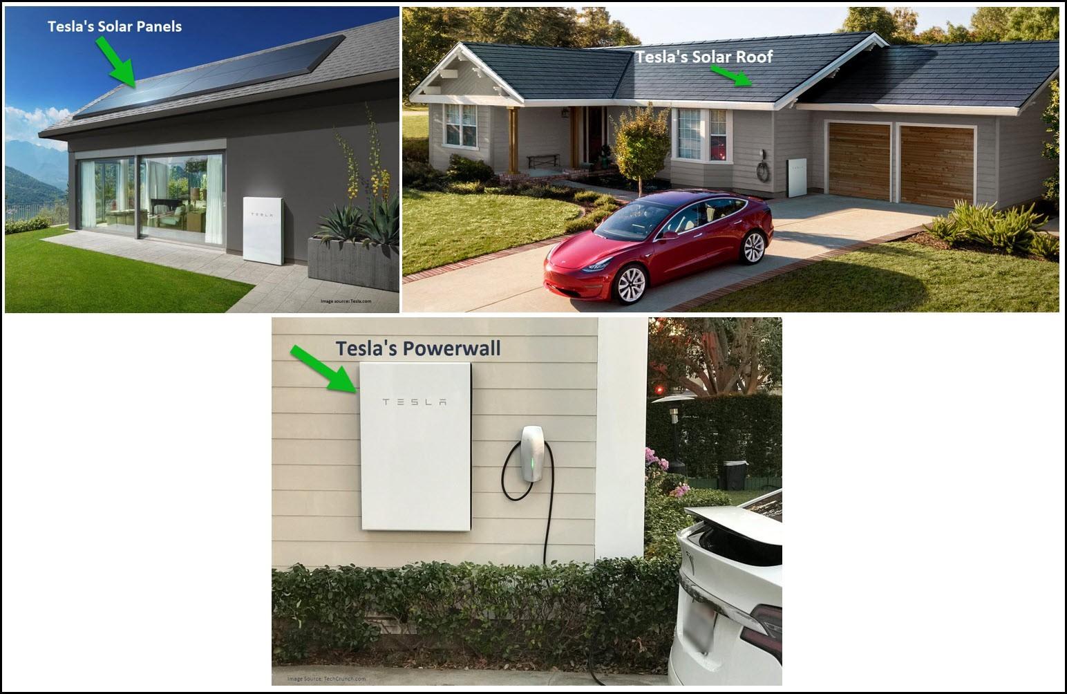 Tesla Solar Panels, Roof, Powerwall