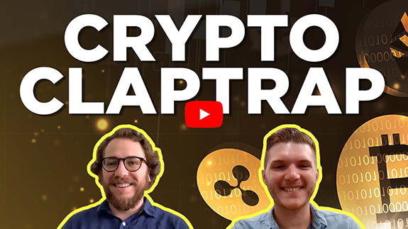 Crypto Claptrap! Image of Chris and Mike discussing cryptocurrencies.